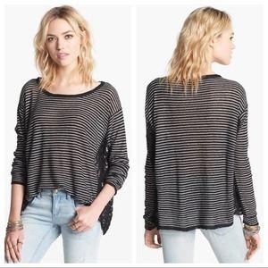 Free People Love Me Do Black Stripe Pullover  S